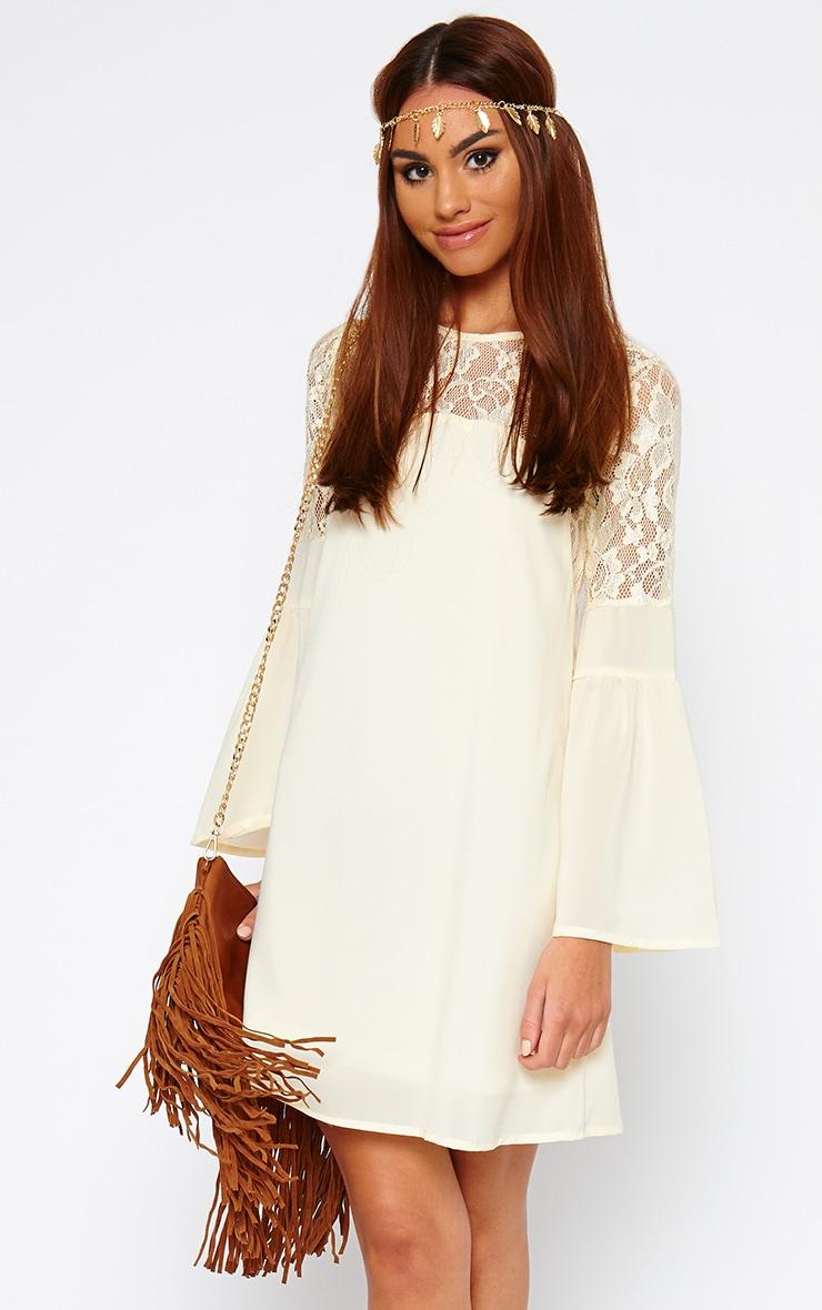 Bettie Cream Bell Sleeve Lace Detail Dress 1