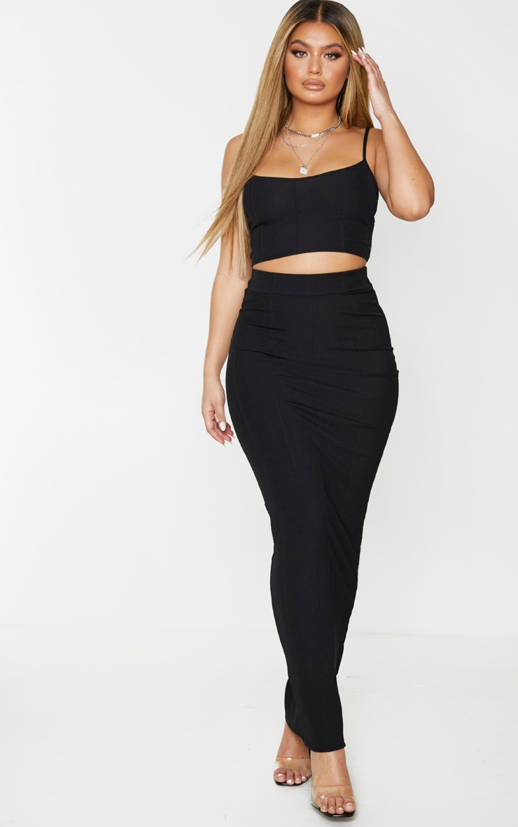 Black Rib Panel Crop Top 3