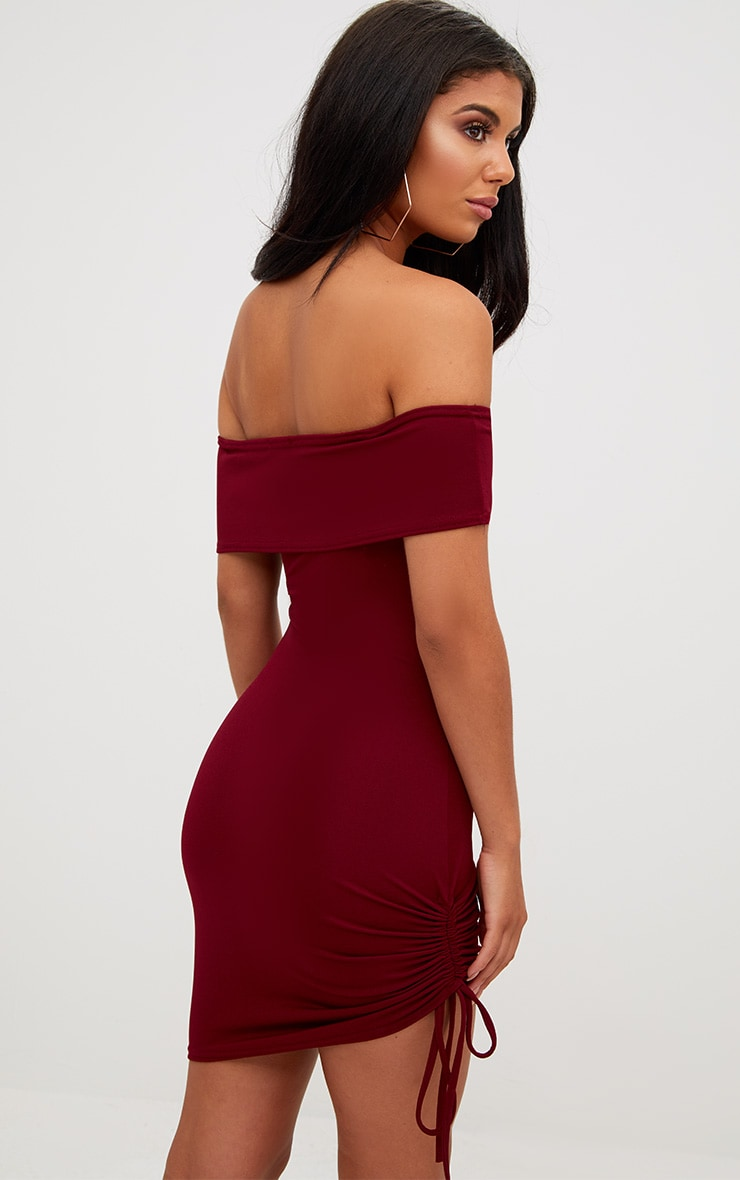 Burgundy Bardot Ruched Side Bodycon Dress 2