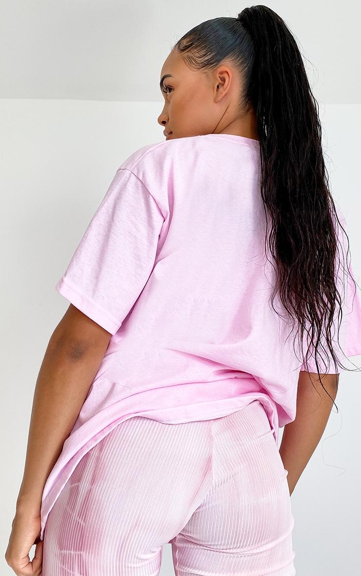 Baby Pink Printed Peace Logo T Shirt 2