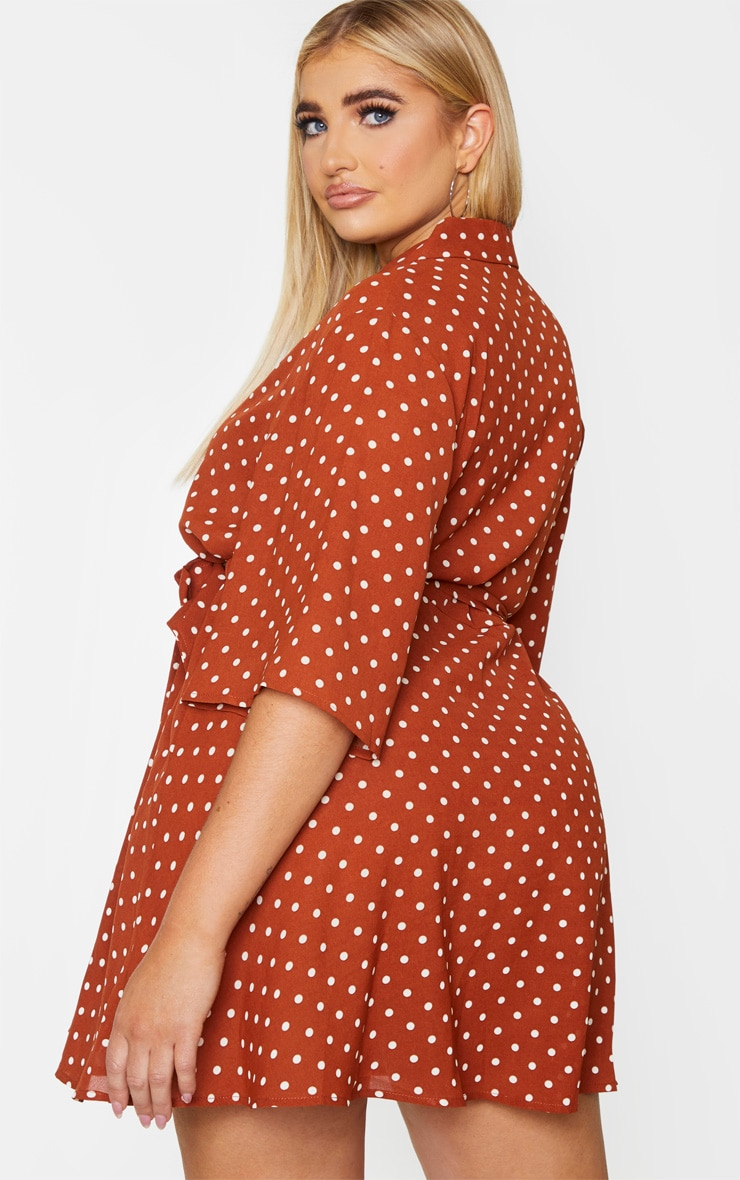 Plus Terracotta Polka Dot Tea Dress 2