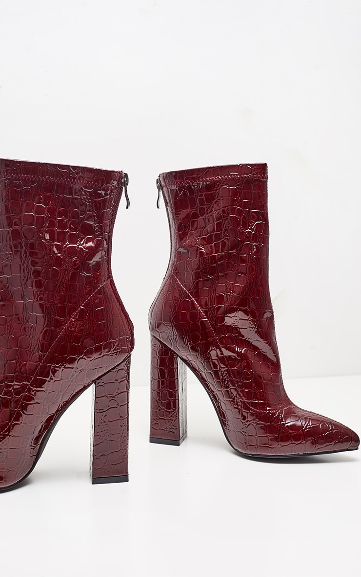 Burgundy Block Heel Point Boot  3