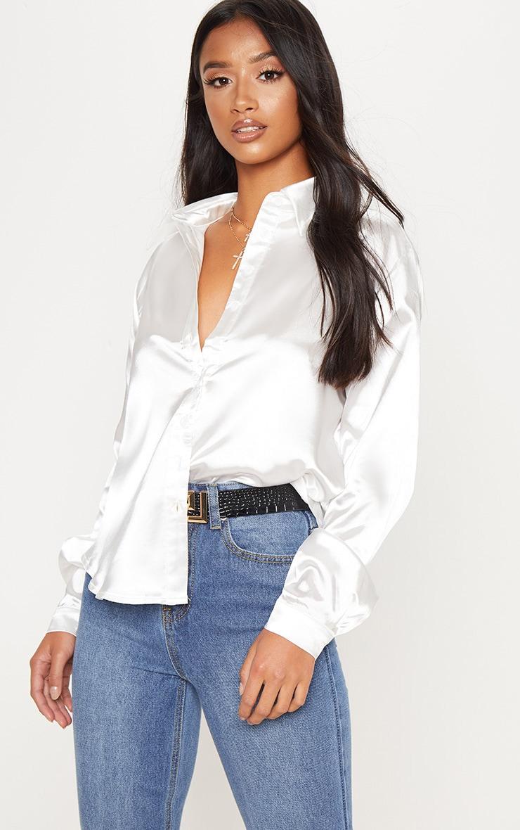 Petite White Satin Shirt 1