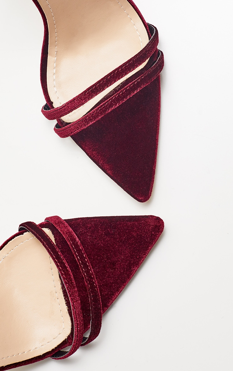 Burgundy Velvet Point Toe Strappy Sandal 3