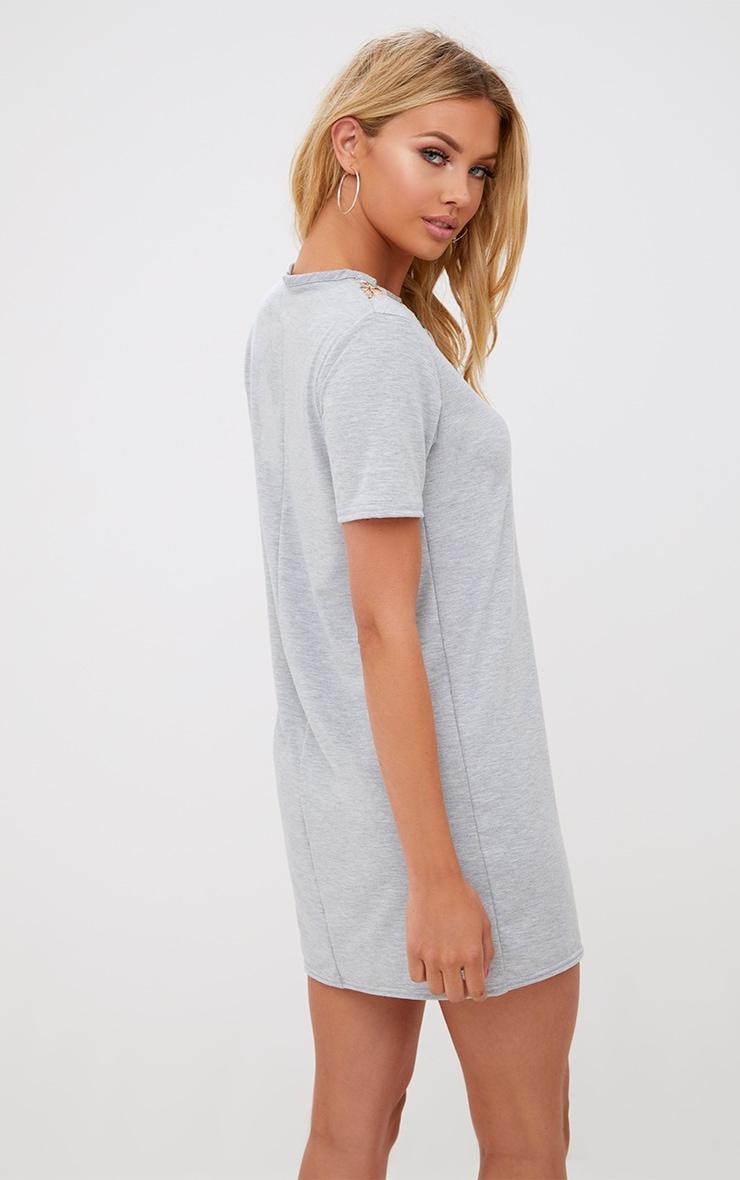 Grey Marl Embroidered Insert T Shirt Dress 2