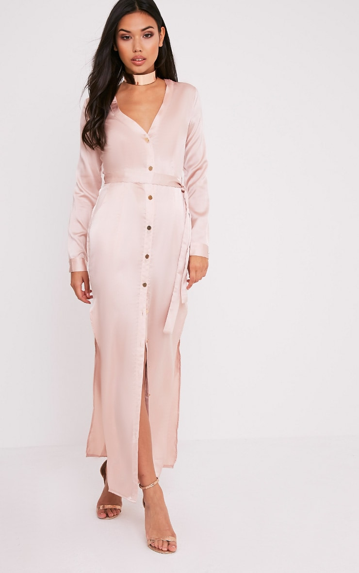 Clairia Champagne Button Down Silk Shirt Dress 5