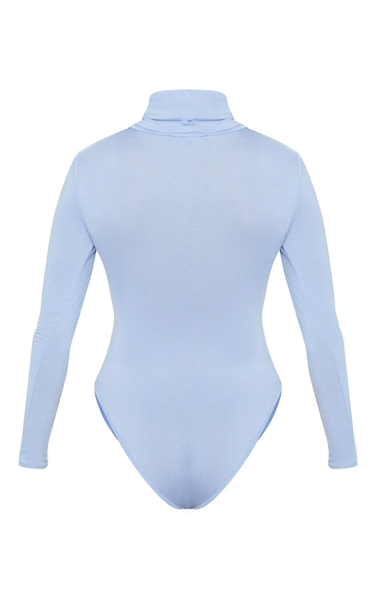 Baby Blue Roll Neck Long Sleeve Bodysuit 4