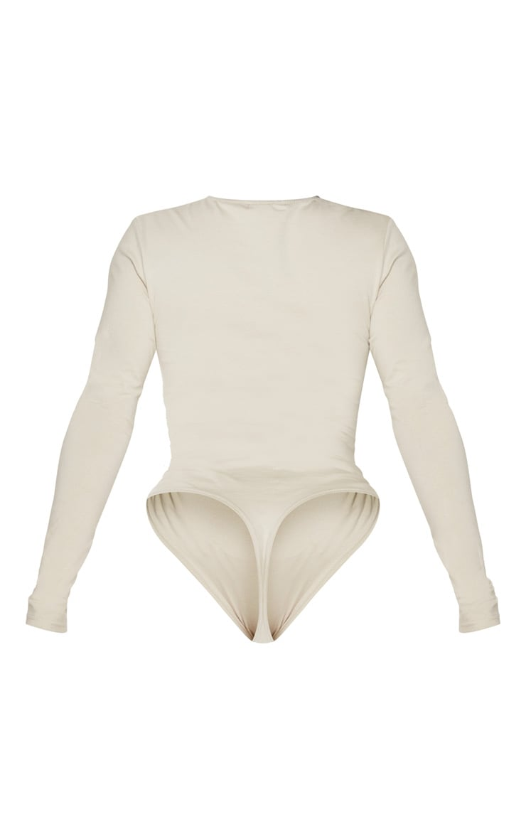 Shape Sand Cotton V Neck Long Sleeve Bodysuit 4