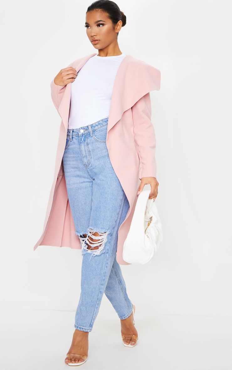 Veronica Dusty Pink Oversized Waterfall Belt Coat 1