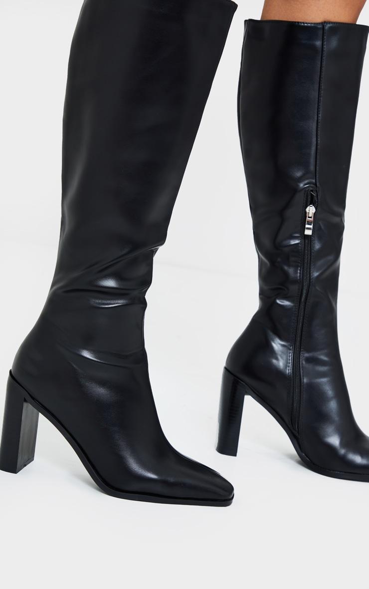 Black Pu High Flat Block Heel Knee Boot 2