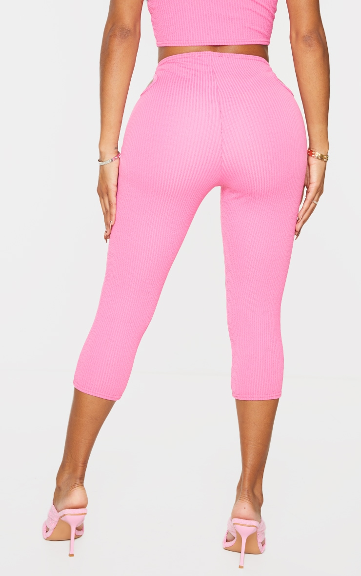Shape Pink Textured Rib Cut Out Side Cropped Leggings 3