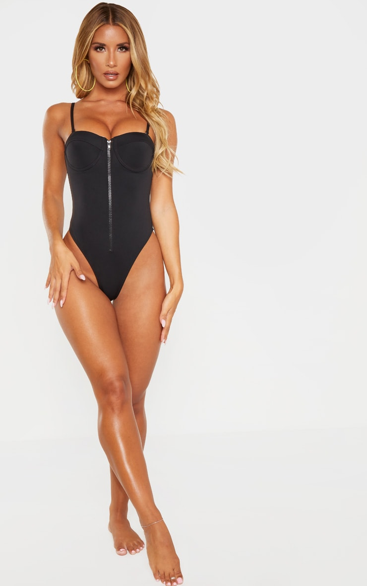 Black Zip Up Cupped Scuba Swimsuit 4