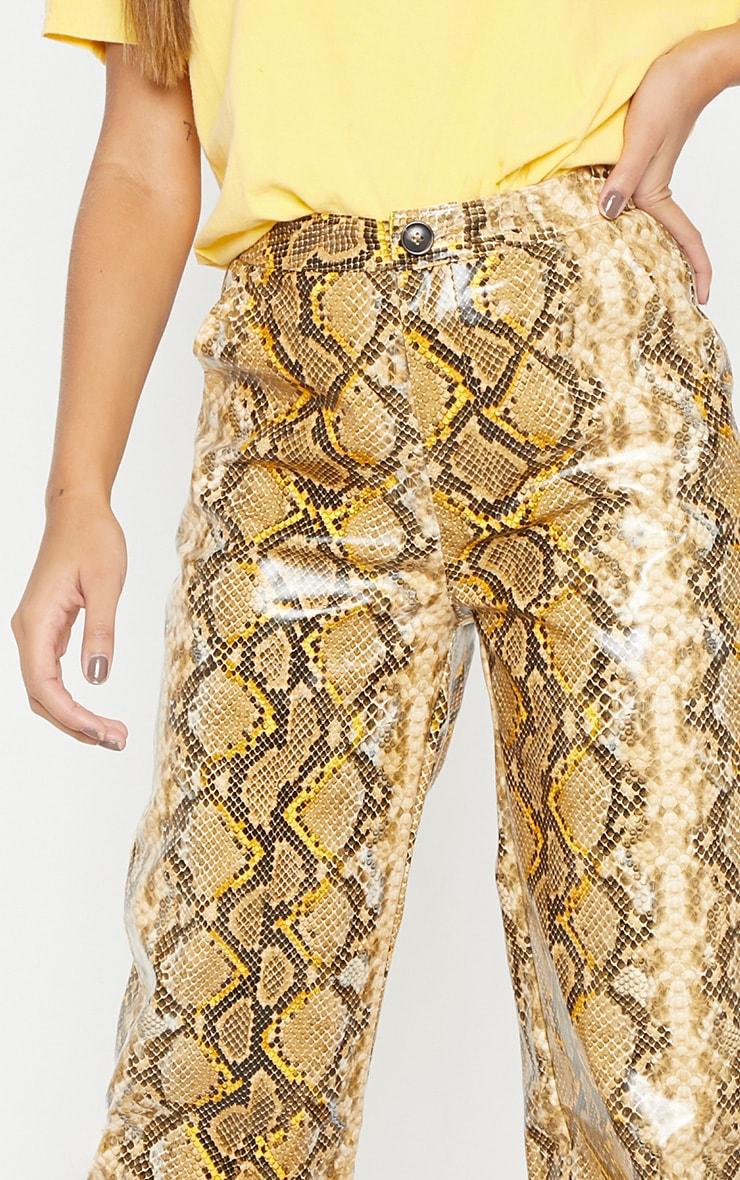 Yellow Faux Leather Snake Print Wide Leg Pants  5
