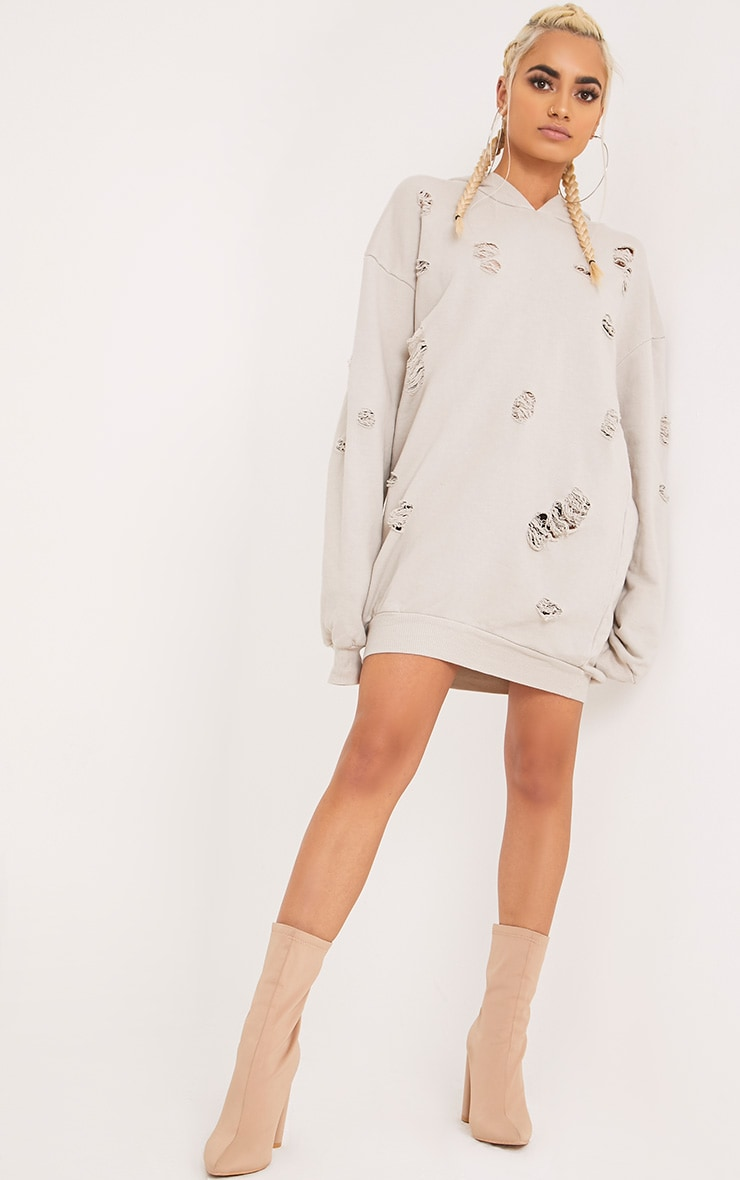 Raular Grey Distressed Hooded Sweater Dress 4