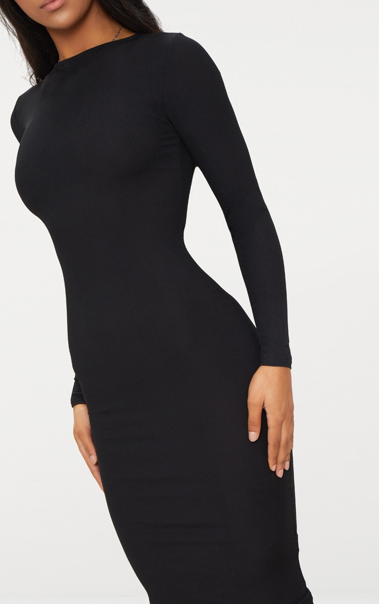 Black Ribbed Long Sleeve Midi Dress 5