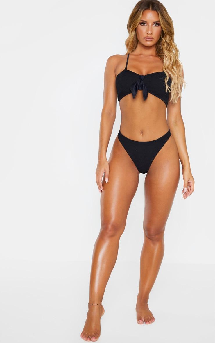 Black Crinkle Bow Bikini Top 4