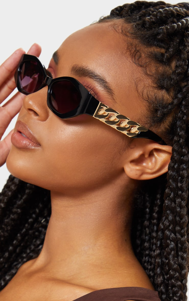 Black Chunky Chain Relaxed Hexagon Sunglasses   1