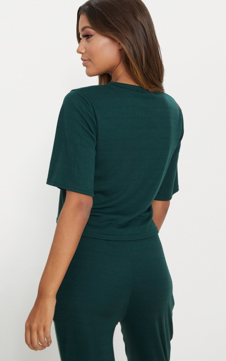 Emerald Green Soft Rib Boxy T Shirt 2