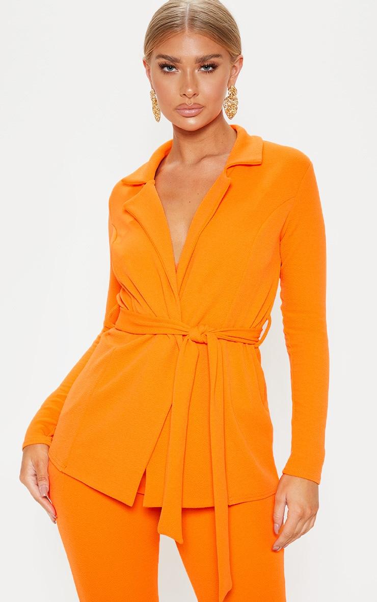 Blazer orange à ceinture à boucle 1