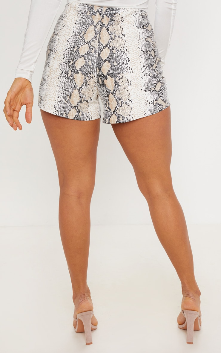 Taupe Faux Leather Snake Skin Short 4