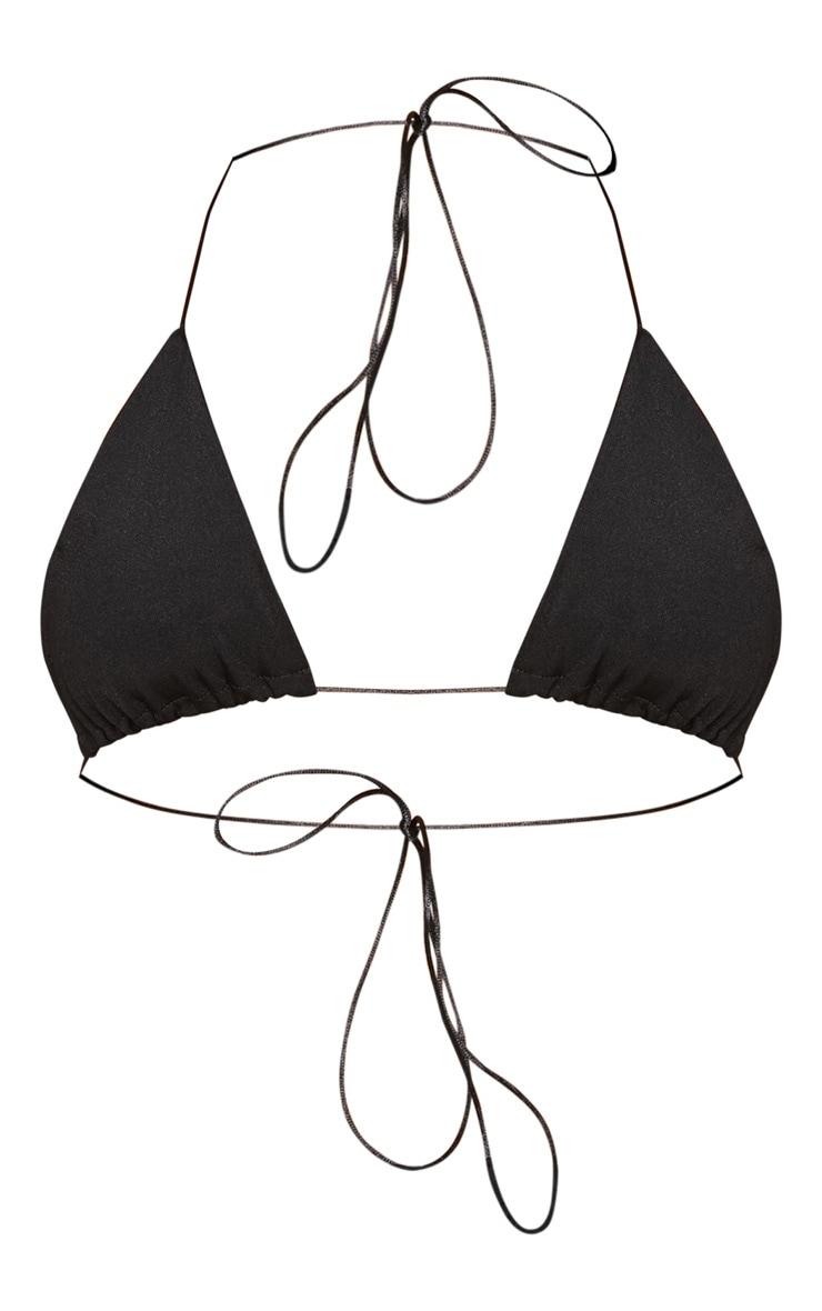 Black Skinny Tie Triangle Bikini Top 3