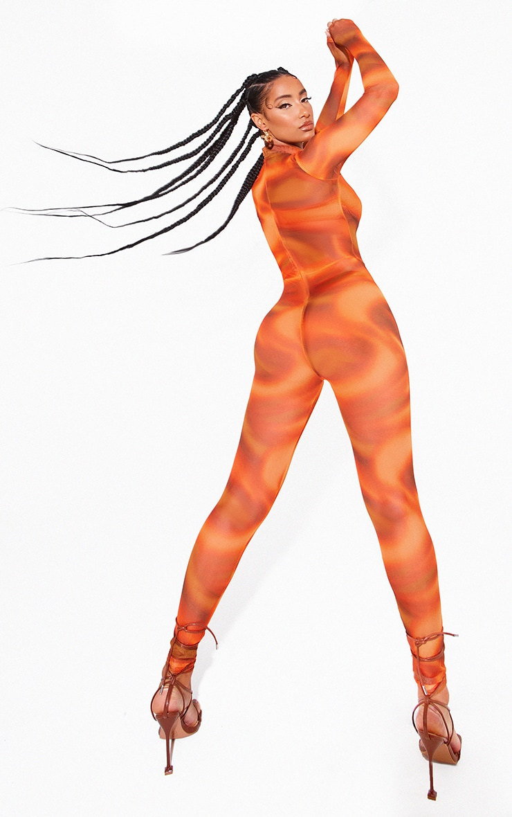 Orange Printed Mesh Jumpsuit 2