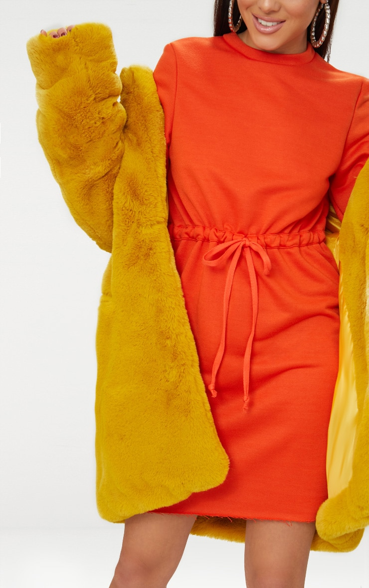 Bright Orange Tie Waist Sweater Dress 5