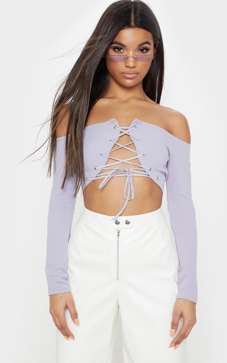 Grey Lace Up Front Bardot Crop Top 1