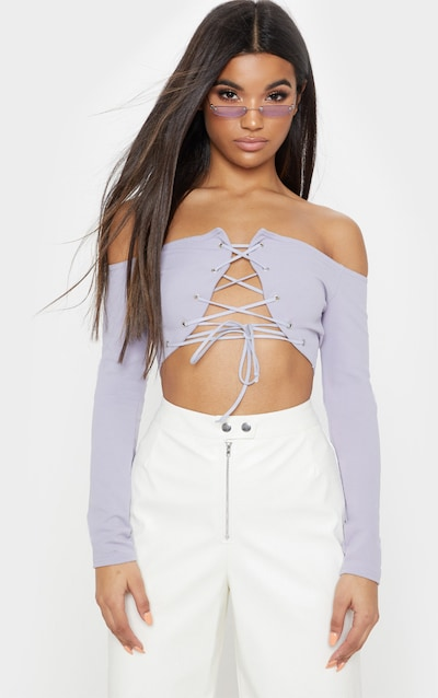 Grey Lace Up Front Bardot Crop Top. More colours available 040061891