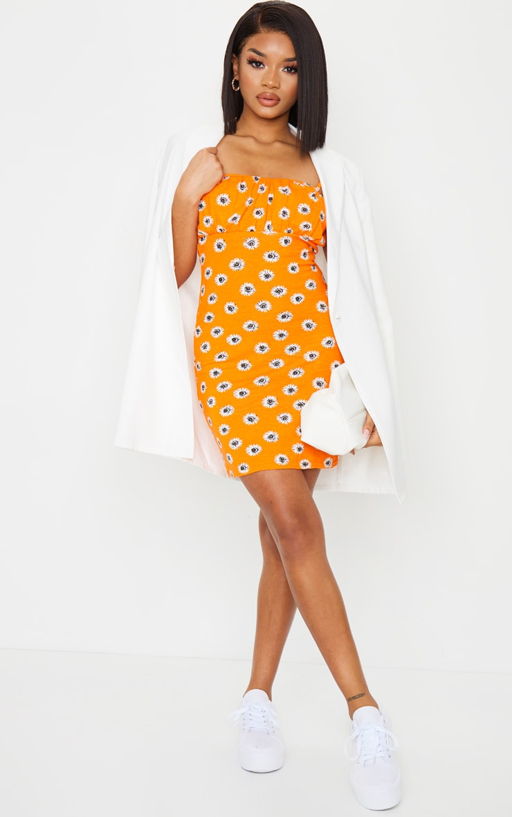 Petite Orange Ruched Bust Ditsy Strappy Mini Dress 3