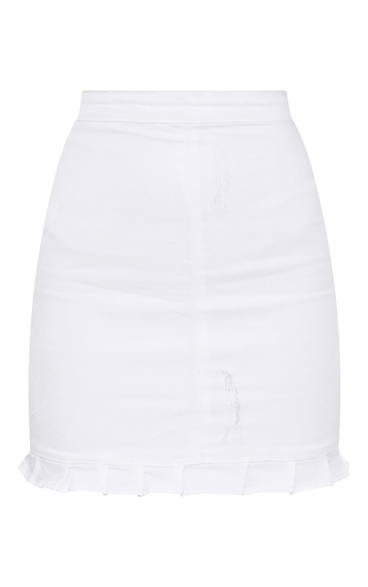 White Ruffle Hem Denim Skirt 3