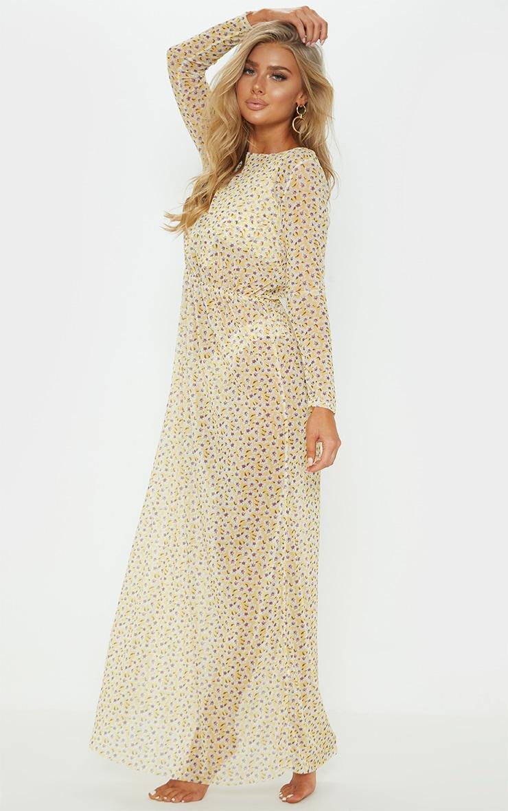Yellow Ditsy Daisy Long Sleeve Maxi Beach Dress 5