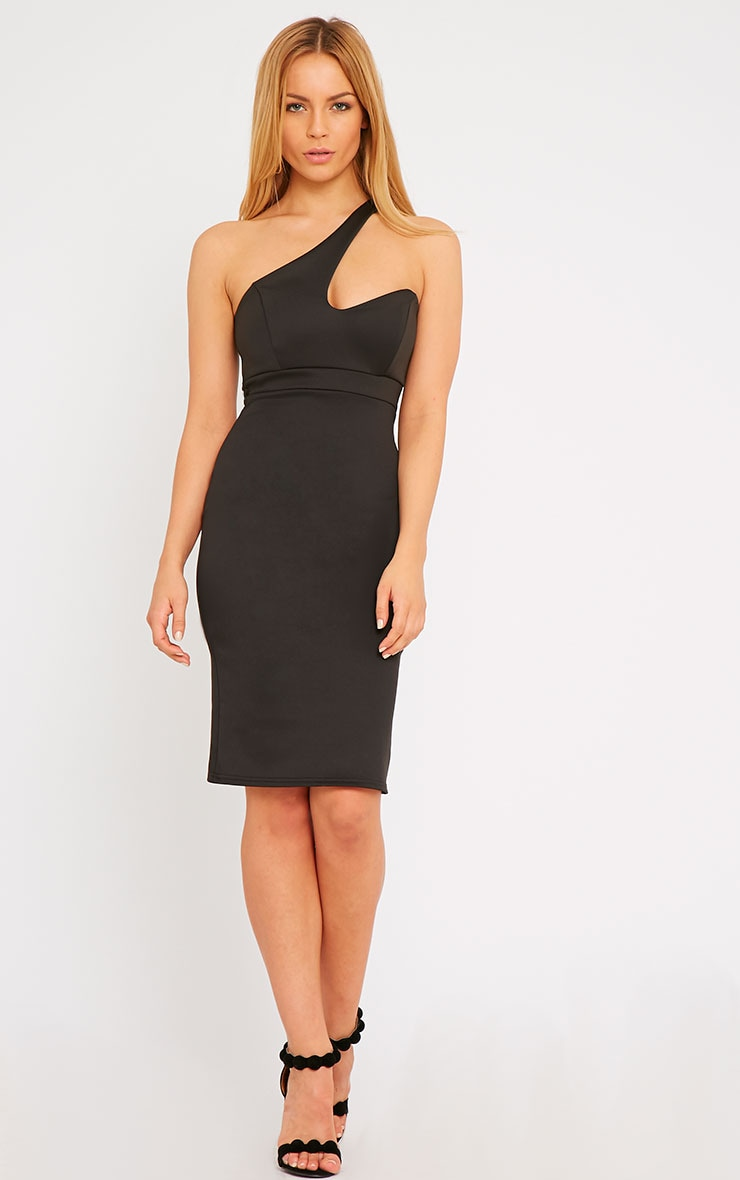 Sonia Black One Shoulder Midi Dress 1