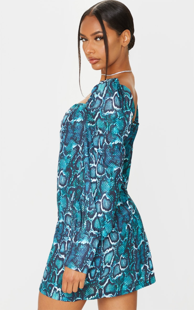 Teal Snake Print Ruched Bust Long Sleeve Bodycon Dress 2
