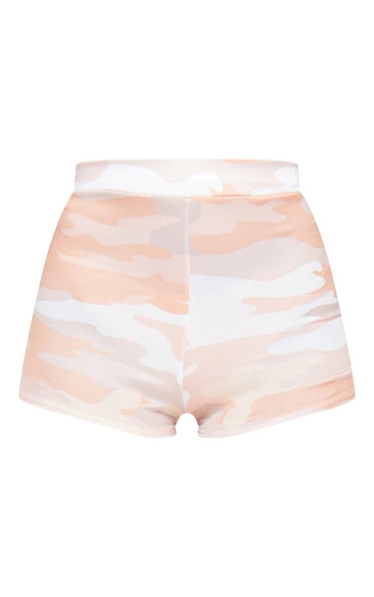 Nude Camo Print Jersey High Waisted Hot Pants 5