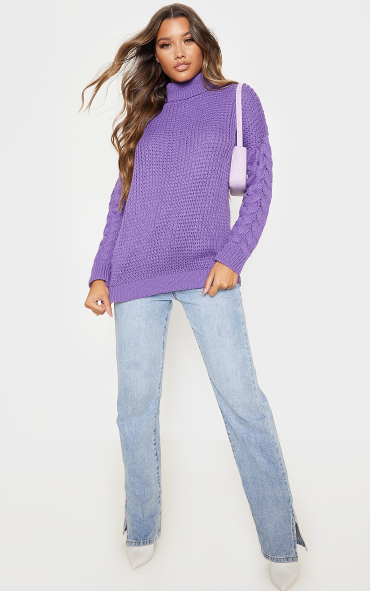 Violet Chunky Knitted Cable Sleeve Jumper  1