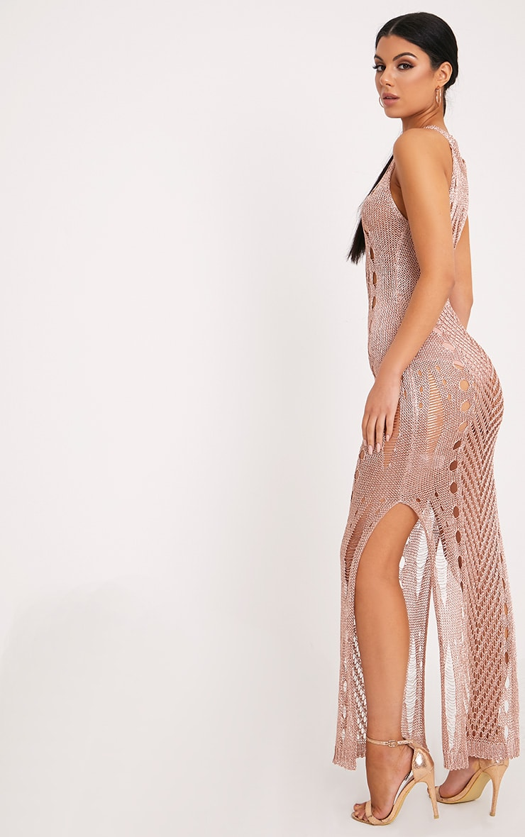 Donatella Rose Gold Metallic Pointelle Knit Maxi Dress 2