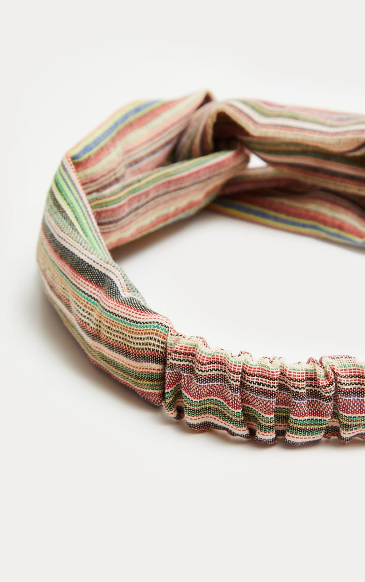 Green Stripe Twist Headband 3