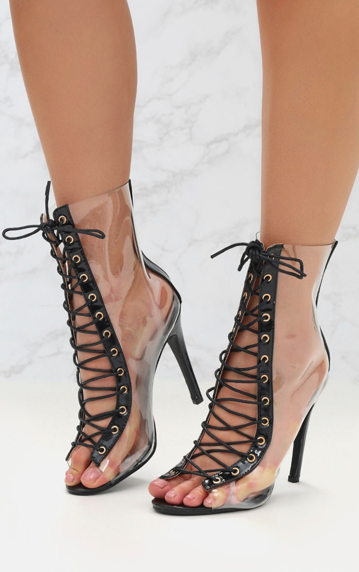 Black Lace Up Clear Ankle Boot 2