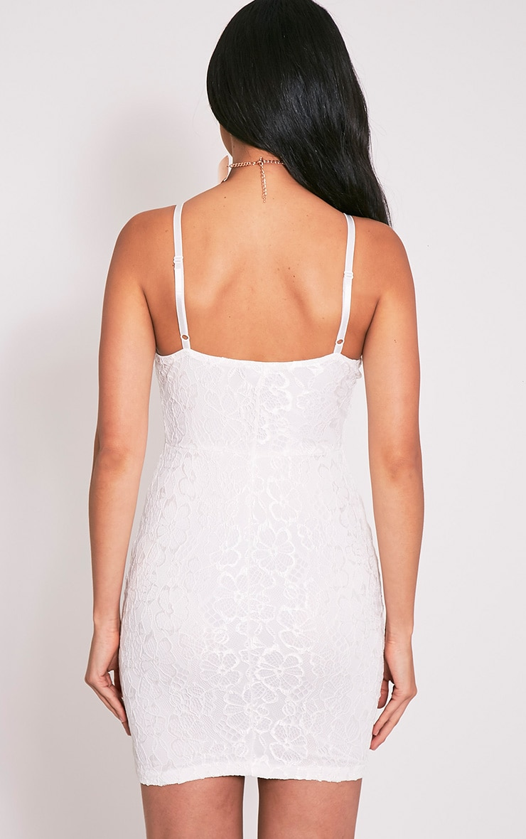 Catherina White Lace Panel Bodycon Dress 2