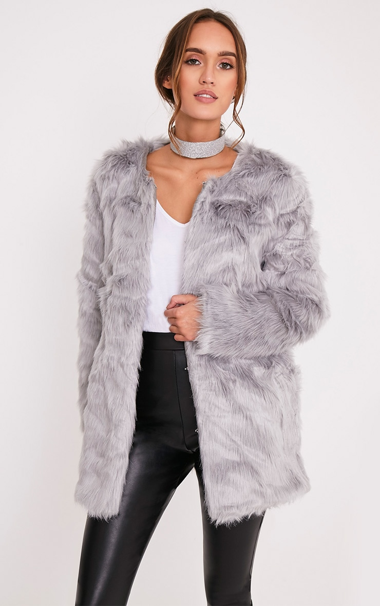 Florencia Grey Faux Fur Coat 1