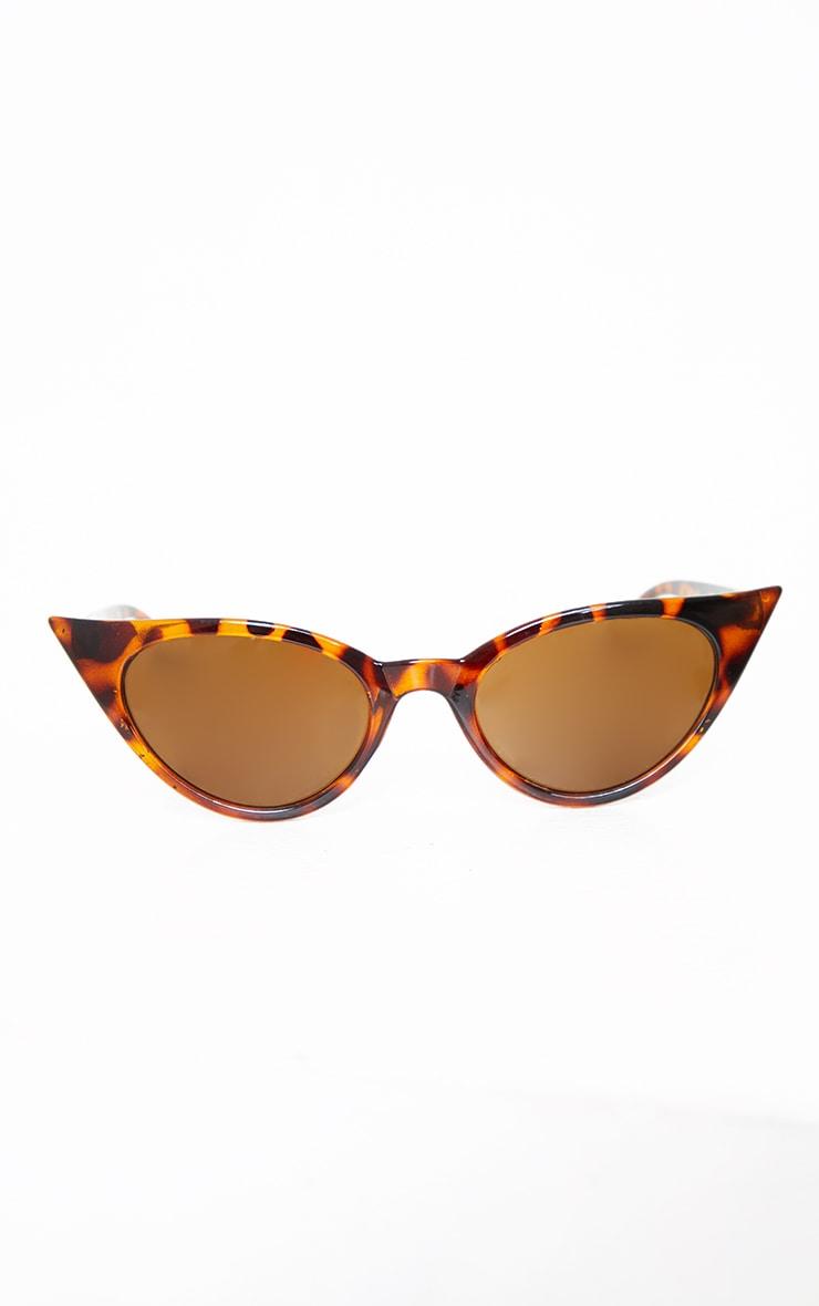 Brown Tortoiseshell Extreme Cat Eye Retro Sunglasses 3