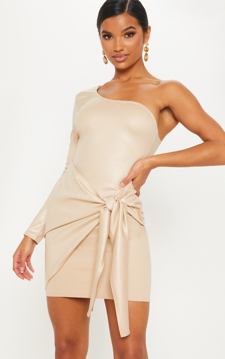 Nude Matte PU One Shoulder Wrap Dress 1