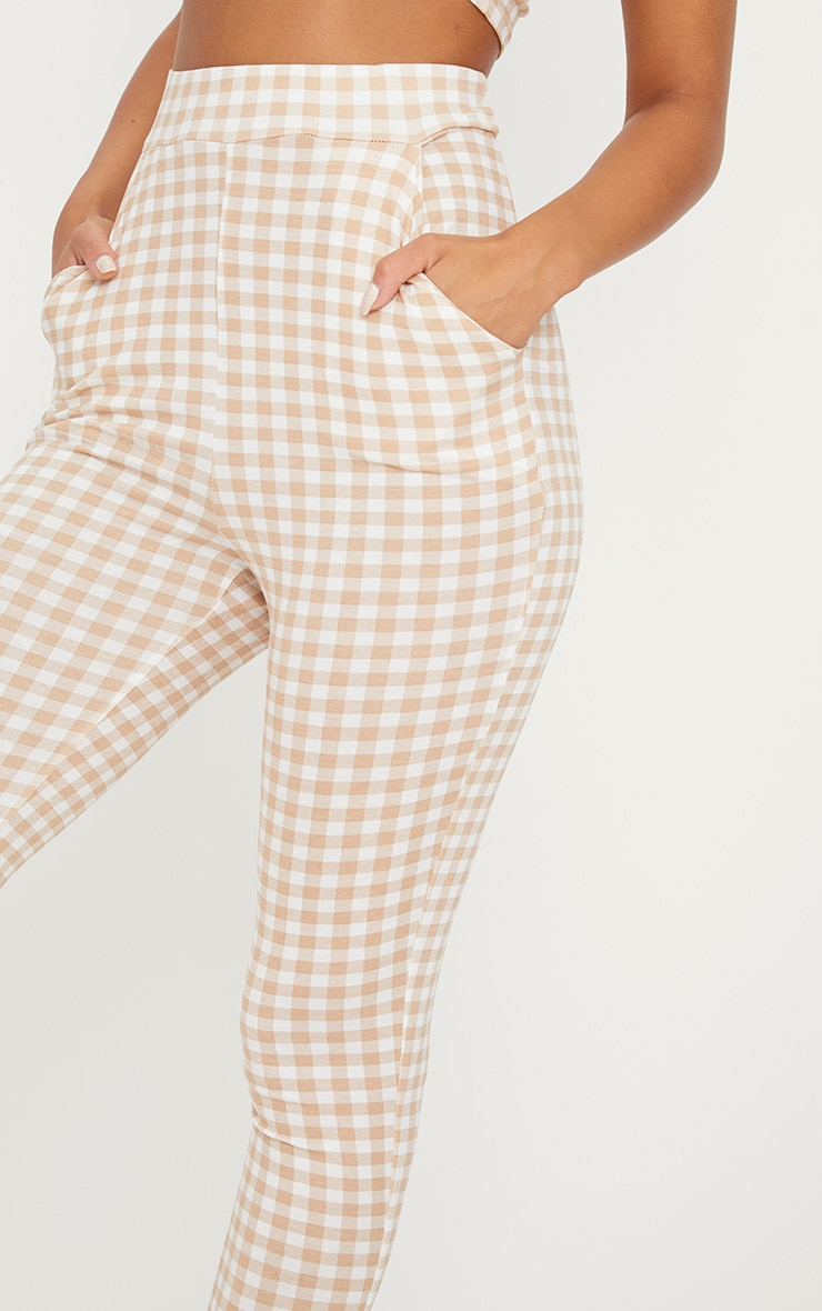 Nude Gingham Skinny Trousers 5