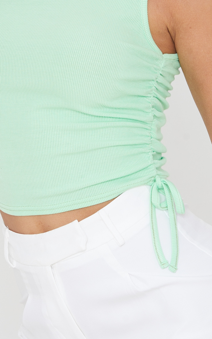 Pastel Green Soft Rib Ruched Side Vest Top 4