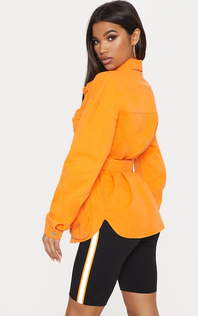 Orange Military Denim Pencil Pocket Jacket