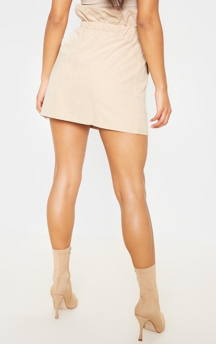 Camel Faux Suede Paperbag Waist Mini Skirt  4