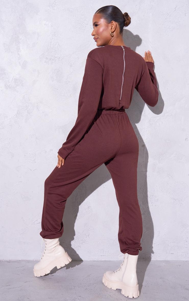 RENEW Chocolate Long Sleeve Sweat Jumpsuit 2