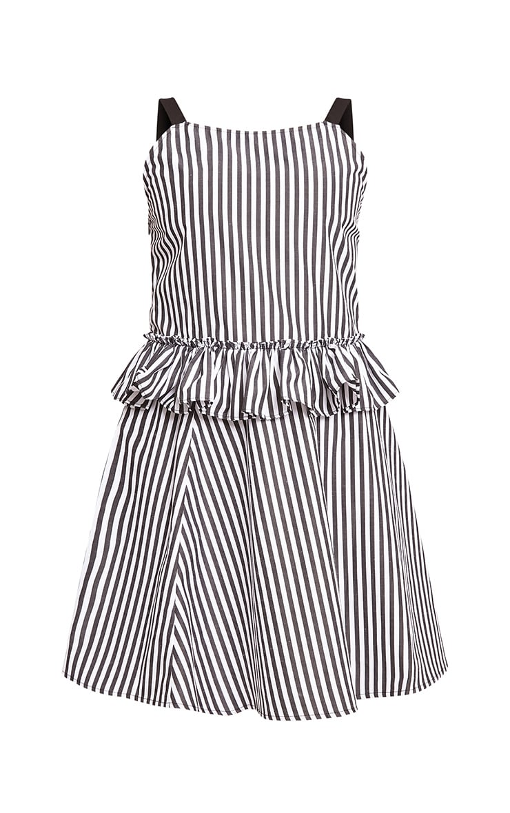 Maeve Grey Striped Waist Frill Detail Dress 3