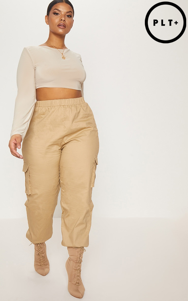 Plus Stone Pocket Detail Cargo Trousers